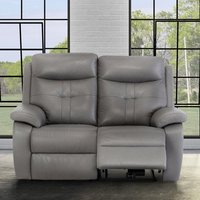 Product photograph showing Sophia Faux Leather Electric Recliner 2 Seater Sofa In Grey