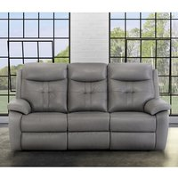 Product photograph showing Sophia Faux Leather Electric Recliner 3 Seater Sofa In Grey