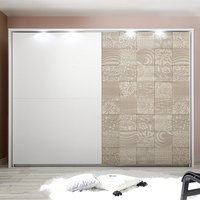 Product photograph showing Soxa Led Sliding Door Wooden Wardrobe In Serigraphed Sonoma Oak