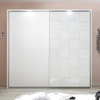 Product photograph showing Soxa Led Wooden Sliding Door Wardrobe In Serigraphed White