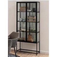 Product photograph showing Sparks Black Wooden 4 Shelves Display Cabinet In Black Frame