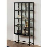 Product photograph showing Sparks Oak Wooden 4 Shelves Display Cabinet In Black Frame
