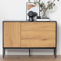 Product photograph showing Sparks Wooden 1 Door And 3 Drawers Sideboard In Matt Wild Oak
