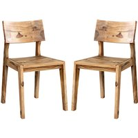 Product photograph showing Spica Natural Sheesham Wooden Dining Chairs In Pair