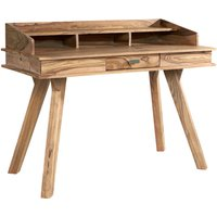 Product photograph showing Spica Wooden Study Desk In Natural Sheesham