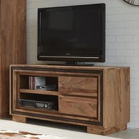 Product photograph showing Spica Wooden Tv Stand In Natural Sheesham With 2 Drawers