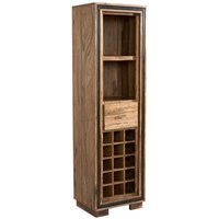 Product photograph showing Spica Wooden Wine Bookcase In Natural Sheesham With 2 Drawers