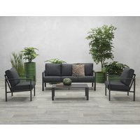 Product photograph showing Sprake 3 Seater Sofa Group With 2 Armchairs In Carbon Black