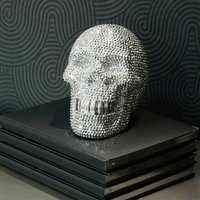 Product photograph showing Large Ornament Studded Silver Skull