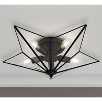 Product photograph showing Star 5 Lamp Ceiling Light In Black With Clear Glass Panels