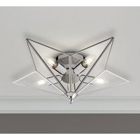 Product photograph showing Star 5 Lamp Ceiling Light In Chrome With Clear Glass Panels
