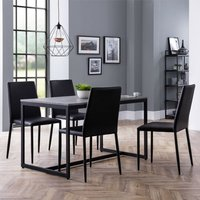 Product photograph showing Staten Dining Set In Concrete With 4 Jazz Black Leather Chairs