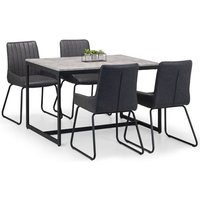 Product photograph showing Staten Dining Set In Concrete With 4 Soho Black Leather Chairs