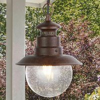Product photograph showing Station Outdoor Clear Acrylic Pendant Light In Rustic Brown