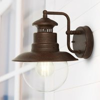 Product photograph showing Station Outdoor Wall Light In Rustic Brown With Clear Acrylic