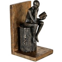 Product photograph showing Steampunk Bookend Human Poly Sculpture In Antique Gold And Black