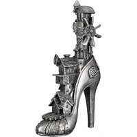 Product photograph showing Steampunk High Heel Poly Sculpture In Antique Silver