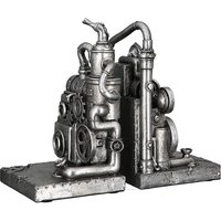 Product photograph showing Steampunk Machine Poly Sculpture In Antique Silver