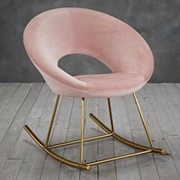 Product photograph showing Stella Rocking Chair In Vintage Pink With Golden Legs