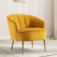 Product photograph showing Stella Velvet Upholstered Tub Chair In Apricot