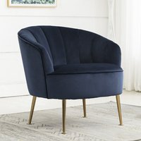 Product photograph showing Stella Velvet Upholstered Tub Chair In Navy