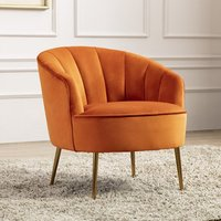 Product photograph showing Stella Velvet Upholstered Tub Chair In Pumpkin