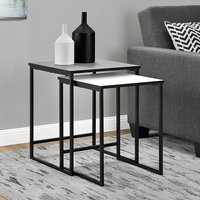 Product photograph showing Stewart Wooden Set Of 2 Nesting Tables In Grey And White