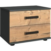 Stockholm 2 Drawers Bedside Cabinet In Silver Fir And Graphite