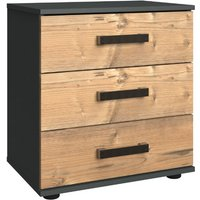 Stockholm 3 Drawers Bedside Cabinet In Silver Fir And Graphite
