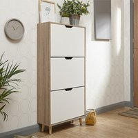 Product photograph showing Stockholm Wooden 3 Tier Shoe Storage Cabinet In White And Oak