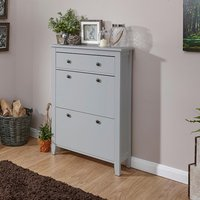 image-Strado Wooden Shoe Cabinet In Grey With 2 Doors And 1 Drawer