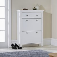 image-Strado Wooden Shoe Cabinet In White With 2 Doors And 1 Drawer
