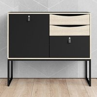 Product photograph showing Stuback Wooden Sideboard In Black And Oak With 1 Door 3 Drawers