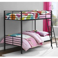 Product photograph showing Sturdy Metal Convertible Single Over Single Bunk Bed In Black