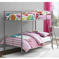 Product photograph showing Sturdy Metal Convertible Single Over Single Bunk Bed In Grey