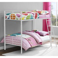 Product photograph showing Sturdy Metal Convertible Single Over Single Bunk Bed In White