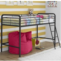 Product photograph showing Sturdy Metal Single Midsleeper Bunk Bed In Black
