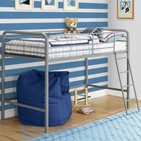 Product photograph showing Sturdy Metal Single Midsleeper Bunk Bed In Grey