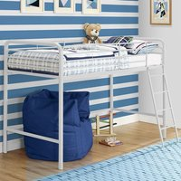 Product photograph showing Sturdy Metal Single Midsleeper Bunk Bed In White