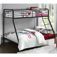 Product photograph showing Sturdy Metal Single Over Double Bunk Bed In Black