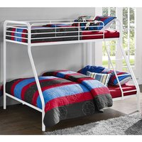 Product photograph showing Sturdy Metal Single Over Double Bunk Bed In White