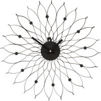 Product photograph showing Styrake Contemporary Floral Design Wall Clock In Black