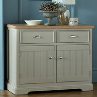 Sunburst Wooden Small Sideboard In Grey And Solid Oak