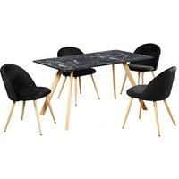 Product photograph showing Swart Dining Table In Black Marble Effect With Black Chairs