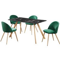 Product photograph showing Swart Dining Table In Black Marble Effect With Green Chairs