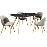 Product photograph showing Swart Dining Table In Black Marble Effect With Grey Chairs