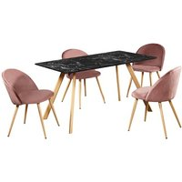Product photograph showing Swart Dining Table In Black Marble Effect With Pink Chairs