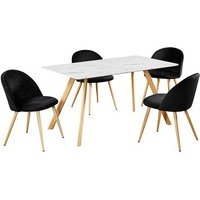 Product photograph showing Swart Dining Table In White Marble Effect With Black Chairs