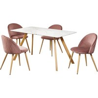 Product photograph showing Swart Dining Table In White Marble Effect With Pink Chairs