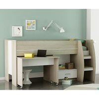 Product photograph showing Swatch Bunk Bed With Desk In Shannon Oak And Pearl White